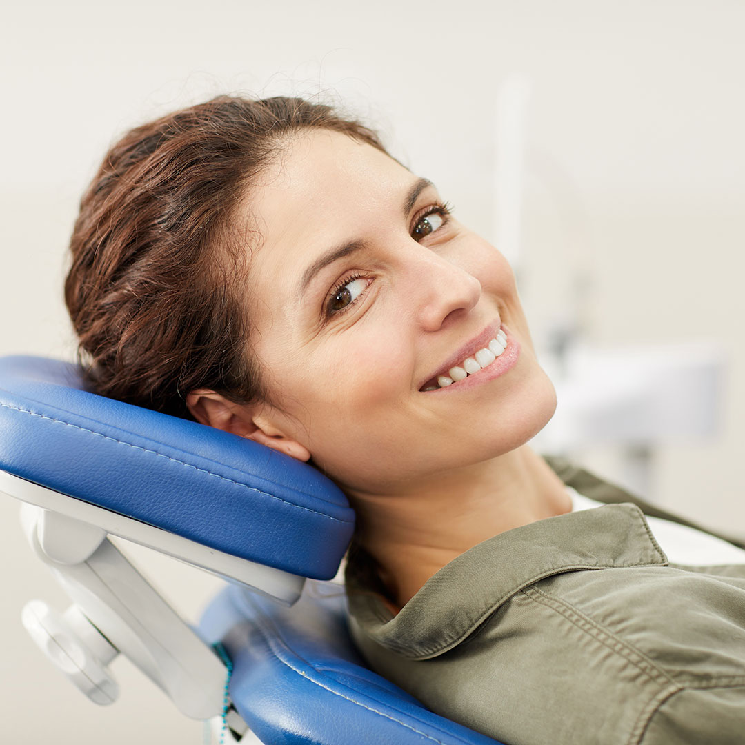 Woman at her free orthodontic near Wilmette